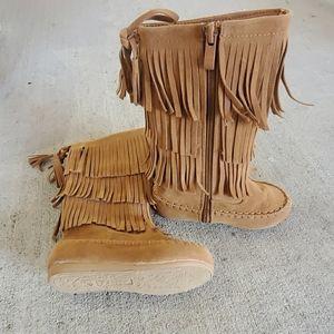 Child Fringe Mid Calf Boots Size 8 Toddler
